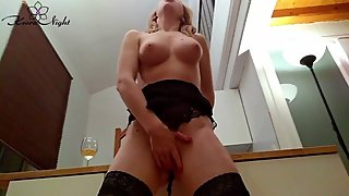 Gorgeous Blonde Passionate Fingering Dildo - in Stockings