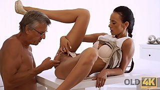 OLD4K. Gorgeous babe Liliane gives old man her body