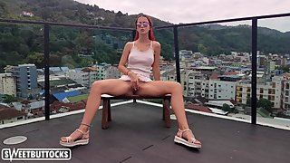 Hot Student Masturbate Pussy and Takes a shower on the Roof