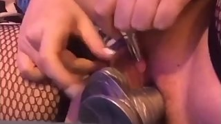 18 year old plays shoves dildo in her tight pussy