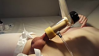 CD Teen Femboy Cums His Brains Out Getting Gently milked by Milking Machine