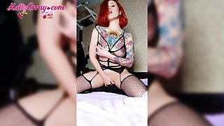 Horny Redhead in Stockings Caresses Tight Pussy - Sensual Solo