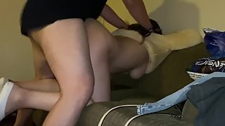 Slutty babe in Airbnb couch