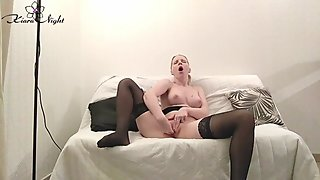 Horny Girl Sensual Fingering in Stockings - Female Orgasm