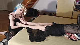 Sissy crossdresser tv slave kiss & massage her mistress's feet pt2 HD