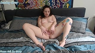 Sexy Tattooed Girl Tit Play and Open Pussy