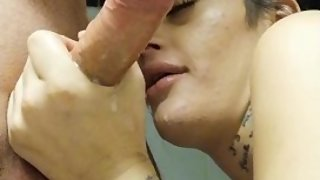 Pretty Tattoo Girl suck dick - Massive cum load in mouth