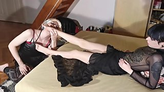 Sissy crossdresser tv slave kiss & massage her mistress's feet pt1 HD