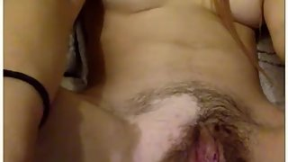 Omegle horny girl playing with her wet hairy pussy and cumming