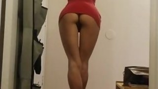 Sexy AF Sucking Some Cock in Her Little Skin-Tight Red Mini-Dress