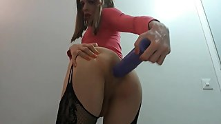 Sissy Trap solo Ass Fucking with a Big Dildo and Loving every second of it