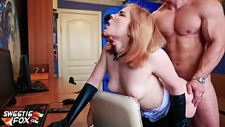 Pretty Maid Deepthroat and Hard Fucking - Cum on Skirt