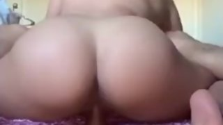 Latina rides Dildo while sucking BBC