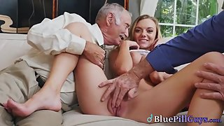 Stunning Blonde Babe Takes Senior Cocks In Her Mouth & Pussy