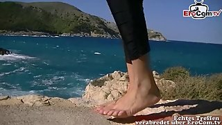 Footjob from german ebony teen POV at mallorca holiday